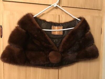 Brown Mink Real Fur Cape/stole Vintage
