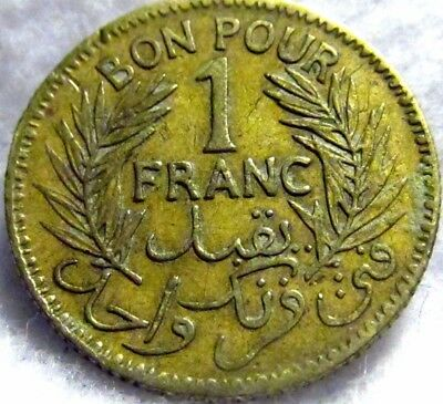 1943 Tunisia 1 Franc ~ French Colonial ~ KM# 247