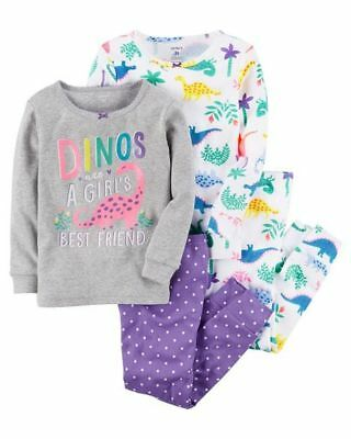 NEW Carter's 4 Piece Dinosaurs Dino Girl Cotton PJs NWT 2 3T 4T 5T 6 7 8 10 12