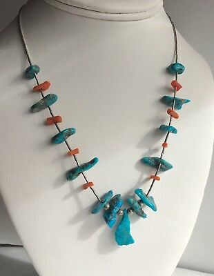 Vintage Native American Turquoise Nugget And Coral Beaded Sterling Necklace 18""