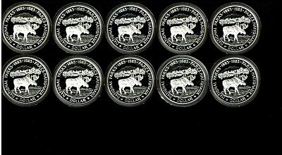 Canada 10-Coin Roll Silver Proof $1 Dollars 1985 Moose National Parks