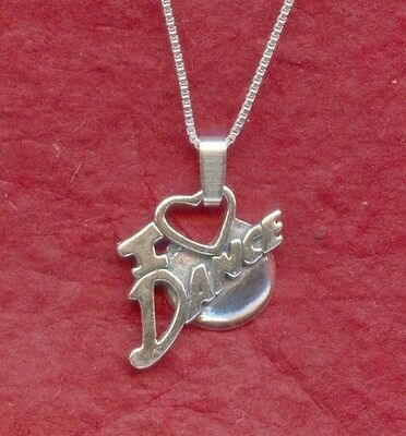 I Love Dance Necklace Solid Sterling Silver 925 Ballet Charm Pendant and Chain