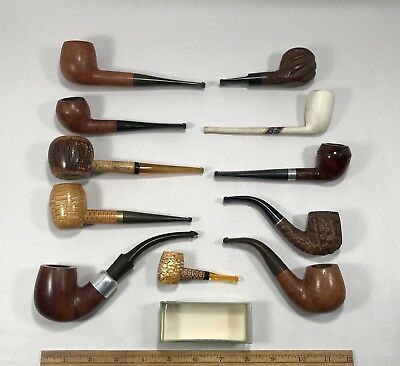 Lot of 11 Vintage Smoking Tobacco Estate Pipes  Imported Briar Meerschaum Clay