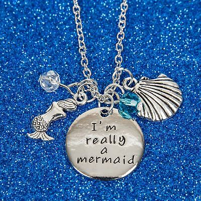 I'm Really A Mermaid Pendant Charm Engraved Necklace Jewelry Seashell Ocean
