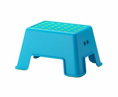 1 X Ikea Bolmen Step Stool Blue with Green Anti-slip Pads Supports 330 Lbs
