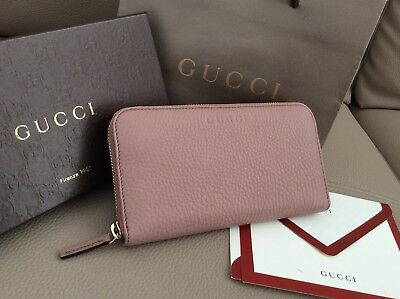 GUCCI New $590 Continental Zip Around Wallet Cellarius Leather Rose Pink color