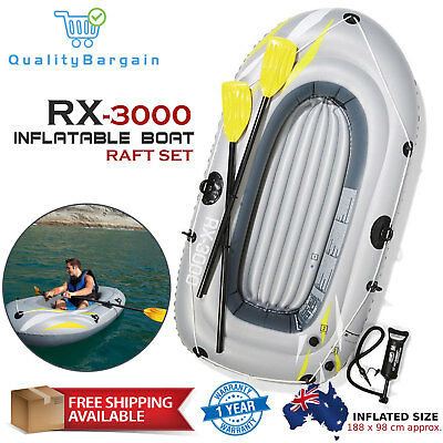 BESTWAY RX-3000 Grey Inflatable Boat Raft Dinghy with 2 Oars Pump and Repair Kit