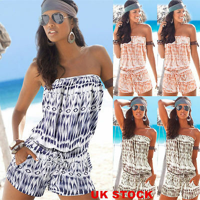 UK Womens Off Shoulder Mini Playsuit Ladies Bikini Cover Up Jumpsuit Beach Dress