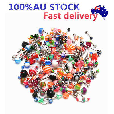 110pcs Wholesale Bulk Lots Body Piercing Eyebrow Jewellery Belly Tongue Bar Ring