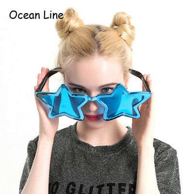 Funny Shiny Metallic Large Stars Glasses Decorated Photo Booth Props Party