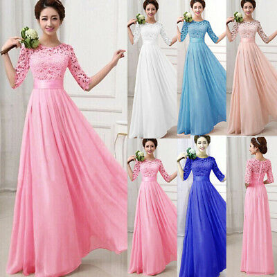 Womens Formal 3/4 Sleeve Lace Dress Bridesmaid Wedding Gown Cocktail Prom Dress