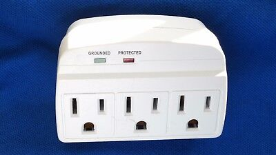 Portable Ac 3 Plug Power Strip Outlet Grounded Surge Protector Wall Tap Ul Eta