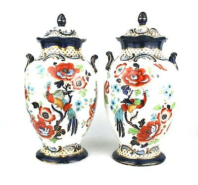 Early 20th C. Pair Baluster Vases With Covers Asiatic Birds Wilton Keeling & Co.