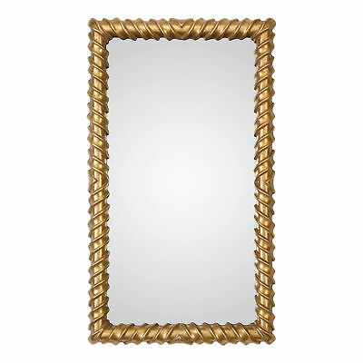 "Modern Gold Spiral Tube Wall Mirror | 43"" Ribbed Industrial Metallic Vanity"