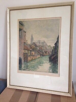 Original Signed Etching Cathedral of Chartres French Artist De La Broye 1920