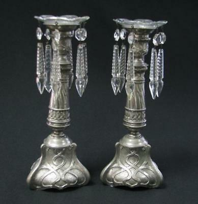 Rare Antique Art Nouveau Pair 2 Candelabra Candle Sticks Holder Cut Crystal