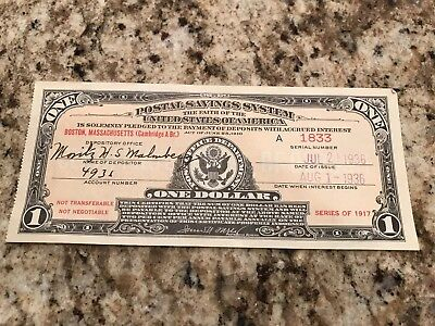 Postal Savings System Series Of 1917 One Dollar - Boston