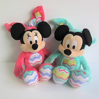 Disney Store set 2 Easter Bunny Minnie & Mickey Mouse soft toy plush rompers