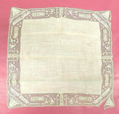 Antique Hanky Handmade Figural Needle Lace Egyptian Hieroglyphics