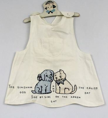 Vintage Antique Childs Bib Apron Calico Cat and Gingham Dog Adorable!