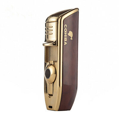 COHIBA Wine Red Metal 3 TORCH JET-FLAME CIGAR CIGARETTE LIGHTER With PUNCH