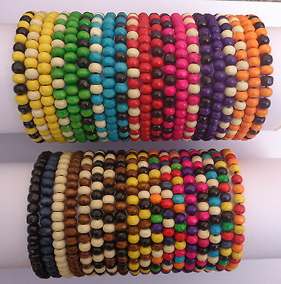 Mens Job Lot X 40 Wooden Tribal / Surfer Elastic Bead Bracelets - NEW