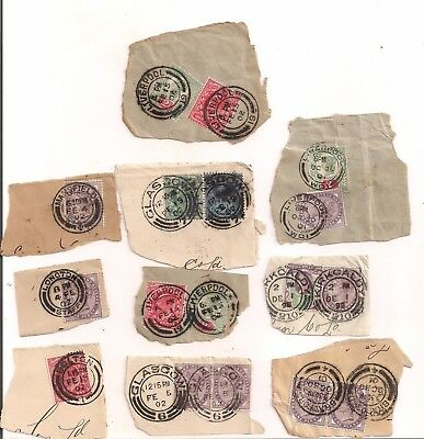 Early Great Britain Stamps On Paper With Nice Clear Cancels Used