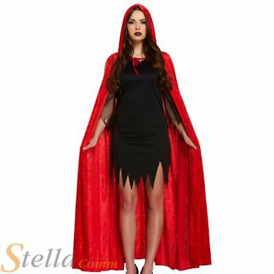 Long Red Velvet Cloak Vampire Dracula Halloween Fancy Dress Costume Cape