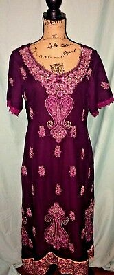 Indian Bollywood Kurta Kurti Purple Chiffon Tunic Dress,, Gold & Pink Trims, 6-8