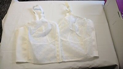 NEW VINTAGE old shop stock size 50B white lace front fastening long line bra