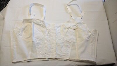 NEW VINTAGE o size 48C cotton embroidered front fastening long length bra