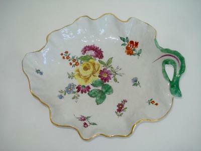 ANTIQUE CHELSEA PORCELAIN LEAF SHAPE DISH 1760s HAND PAINTED RED ANCHOR PERIOD