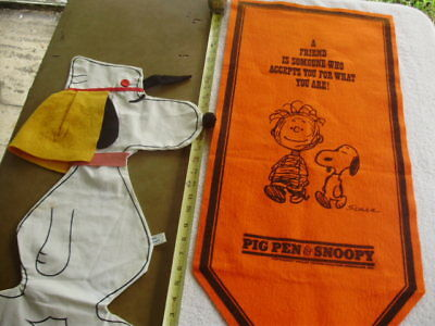 Vintage Snoopy Peanuts Pennant 1966 PIG PEN & SNOOPY & Simon Simple Snoopy Bag