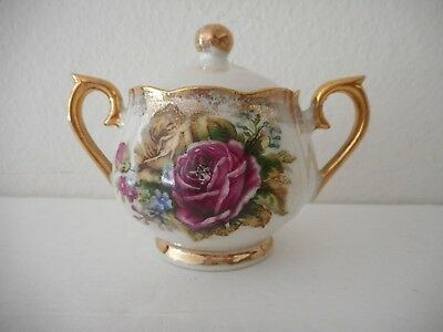 Ucagco Ceramic Japan Sugar Bowl -  Pink And Yellow Roses - Foil Label