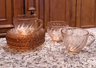 Arcoroc Rosaline Pink Swirl Cups and Saucers Made in France