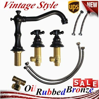 3 Hole Vintage Oil Rubbed Bronze Bathroom Sink Mixer Tap Widespread Basin Faucet