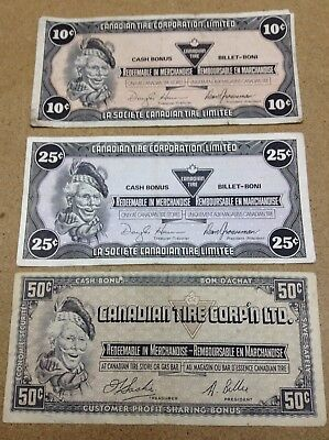 Canadian Tire Money - 3 Notes - 10 25 50 Cents - Lot X4