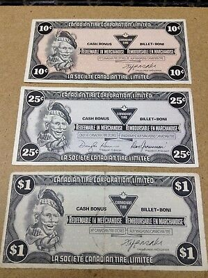 Canadian Tire Money - 3 Notes - 10 25 Cents & 1 Dollar - Lot X5