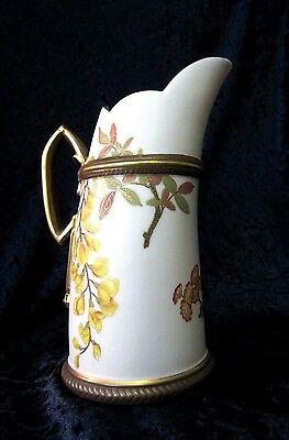 Antique Royal Worcester Hand Painted Pitcher  1885 Perfect Condition