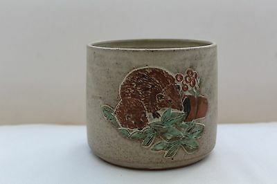 Large Vintage Tregaron Stoneware Pottery Plant Pot with Hedgehog Design