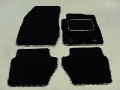 Ford Fiesta 2009-11 Fully Tailored Deluxe Car Mats in Black - Black/White Trim