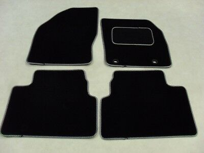 Ford Kuga 2008-12 Fully Tailored Deluxe Car Mats in Black with Black/White Trim.