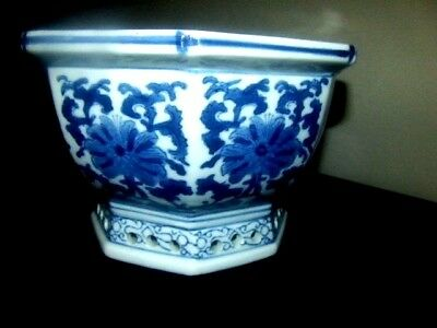 Asian Blue and White Flower Pot