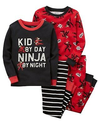 NEW Carter's 4 Piece Kid Ninja Boys Cotton PJs NWT 2T 3T 4T 5T 6 7 8 Pajamas