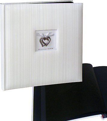 Wedding Hearts white drymount photo album 29x31cm, 50 black pages