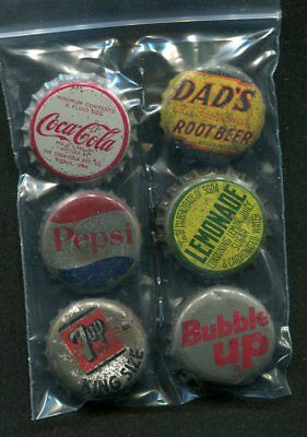 6 Diff  Soda Bottle Caps- Cork - Pepsi 7-Up Coca Cola Dad's Root Beer Bubble Up