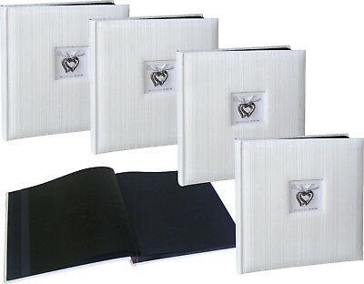 4x Wedding Stripe Hearts white drymount black page photo albums * FOUR PACK