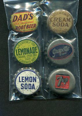 6 Cork Back Soda Bottle Caps- Dad's Root Beer 7-up Grapette Cream Soda Lemonade