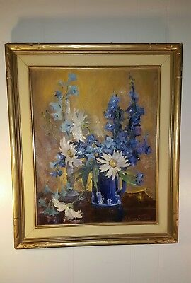 Exquisite Vintage Original Blue/White Floral Oil Painting by Jennie Crawford