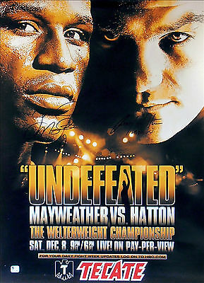 FLOYD MAYWEATHER JR vs. RICKY HATTON / Authentic DUAL SIGNED Boxing Fight Poster